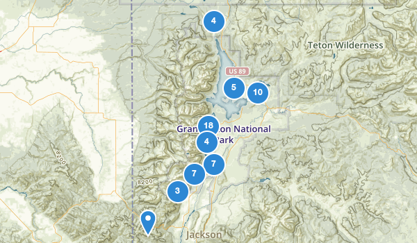 trail locations for Grand Teton National Park
