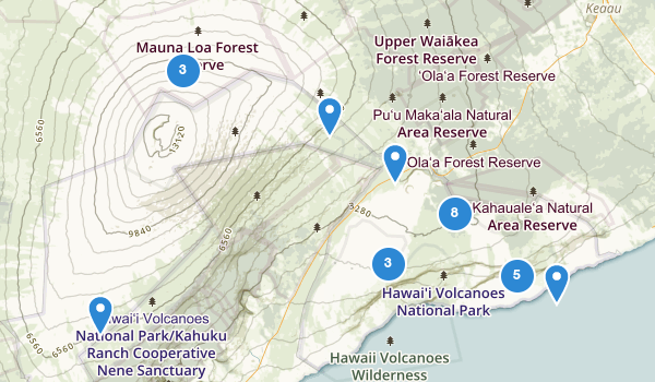 trail locations for Hawaii Volcanoes National Park