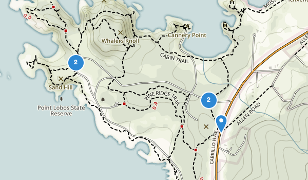trail locations for Point Lobos State Natural Reserve