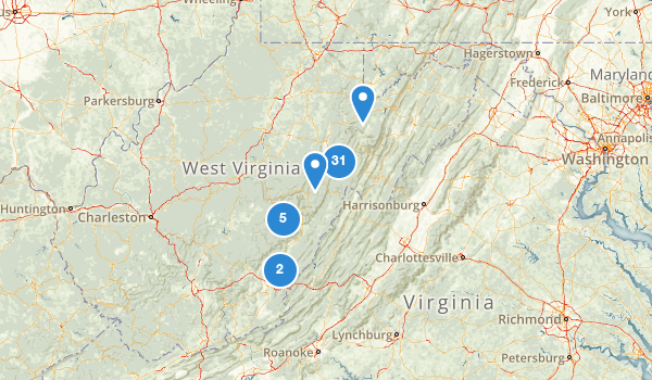 trail locations for Monongahela National Forest