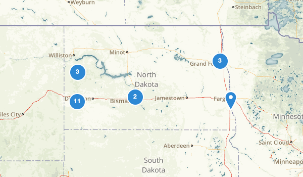 trail locations for North Dakota