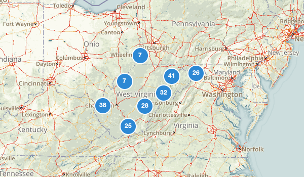 trail locations for West Virginia