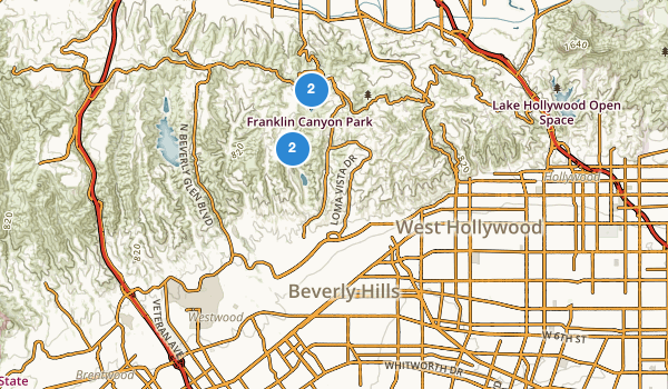 trail locations for Beverly Hills, California
