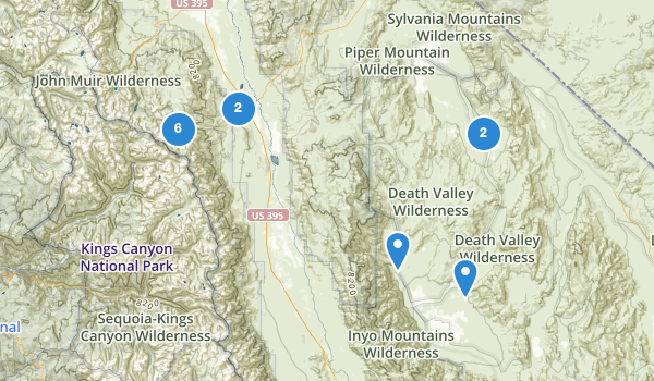 trail locations for Big Pine, California