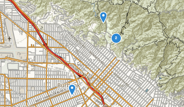 trail locations for Burbank, California
