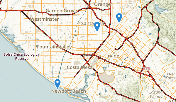 trail locations for Santa Ana, California
