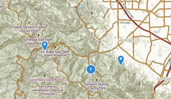 trail locations for Saratoga, California
