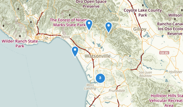 trail locations for Watsonville, California