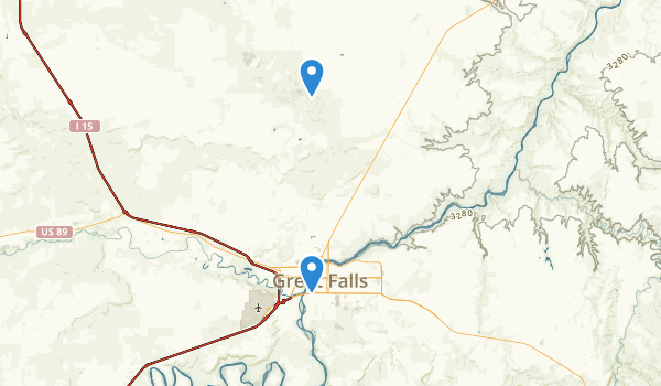 trail locations for Great Falls, Montana