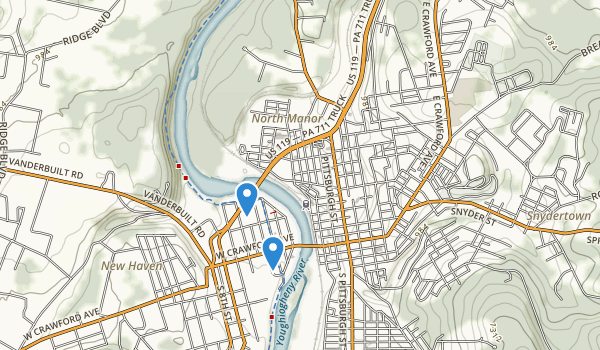 trail locations for Connellsville, Pennsylvania
