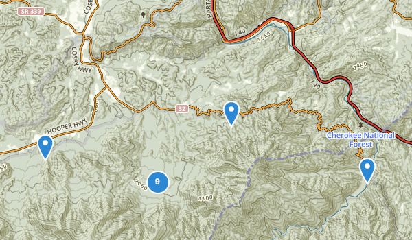 trail locations for Cosby, Tennessee