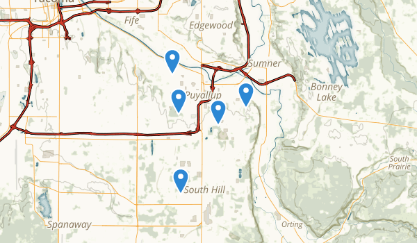 trail locations for Puyallup, Washington