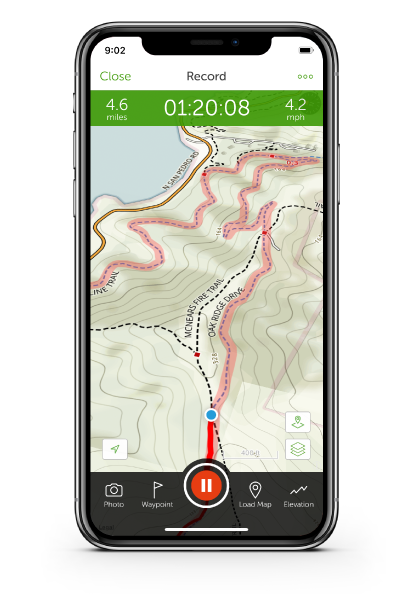 iPhone with trail map