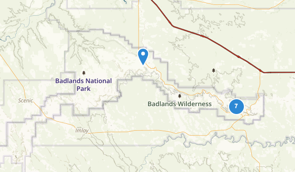 trail locations for Badlands National Park