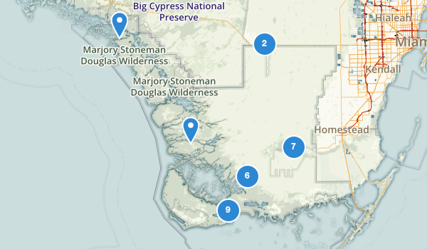 trail locations for Everglades National Park