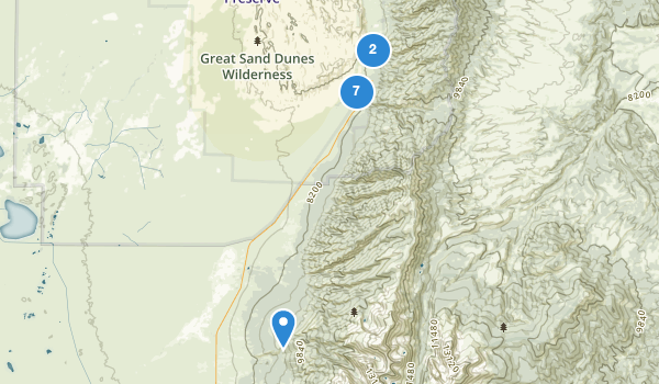 trail locations for Great Sand Dunes National Park