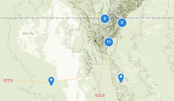 trail locations for Guadalupe Mountains National Park