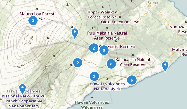 Hawaii Volcanoes National Park Map