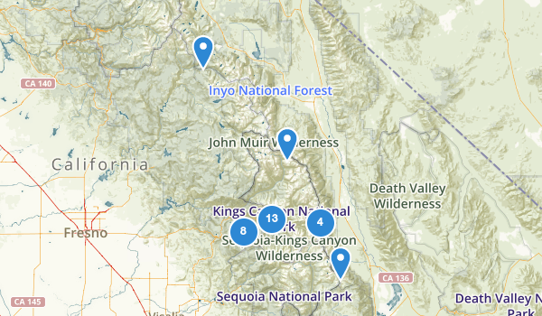 trail locations for Kings Canyon National Park
