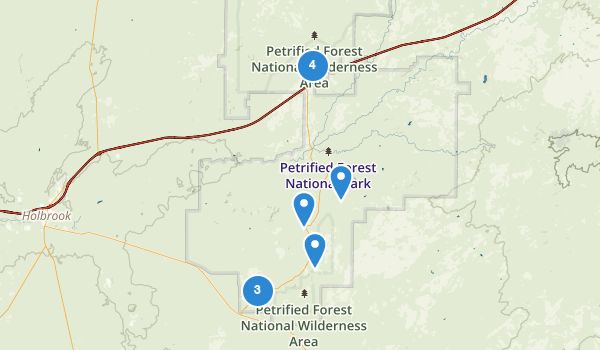 trail locations for Petrified Forest National Park