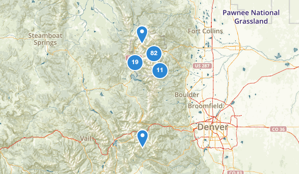 trail locations for Rocky Mountain National Park