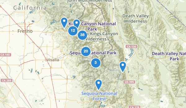 trail locations for Sequoia National Park
