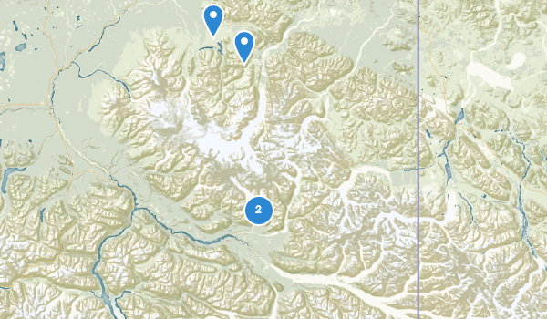 trail locations for Wrangell-St. Elias National Park