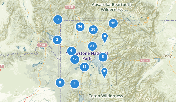 trail locations for Yellowstone National Park