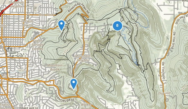 trail locations for Monte Sano State Park