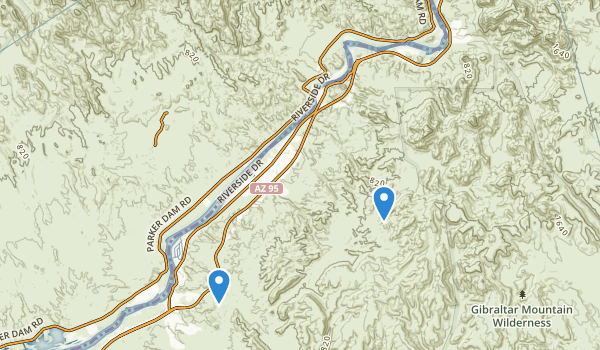 trail locations for Buckskin Mountain State Park