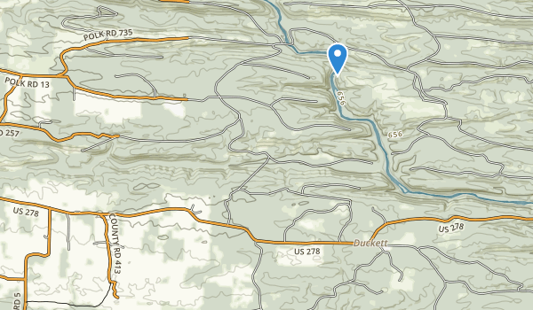 trail locations for Cossatot River State Park-Natural Area