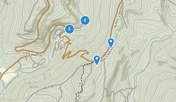 trail locations for Devil's Den State Park