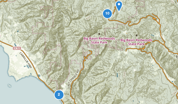 trail locations for Big Basin Redwoods State Park