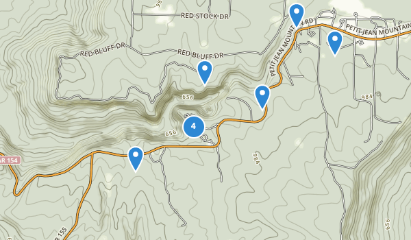 trail locations for Petit Jean State Park