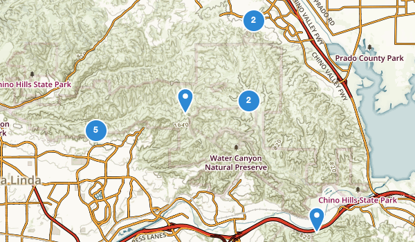 trail locations for Chino Hills State Park