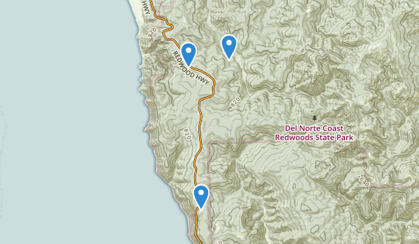 trail locations for Del Norte Coast Redwood State Park
