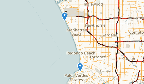 trail locations for Dockweiler State Beach