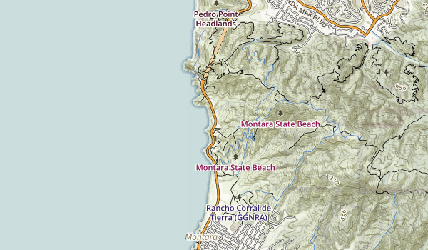 trail locations for Gray Whale Cove State Beach