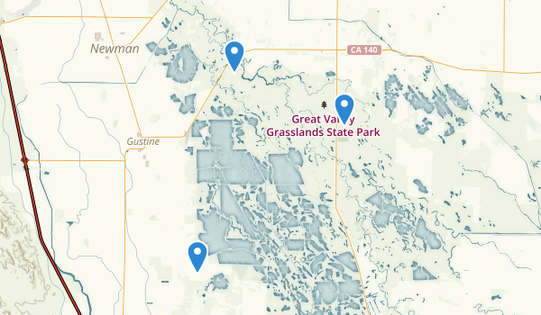trail locations for Great Valley Grasslands State Park