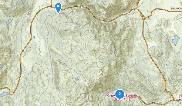 trail locations for Grover Hot Springs State Park