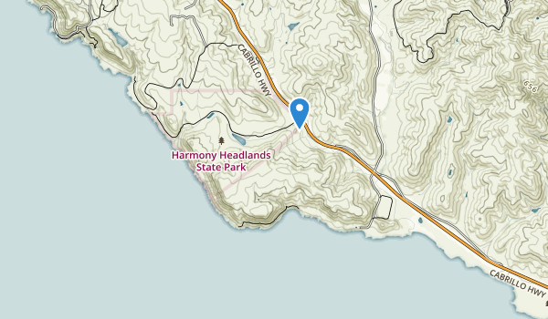 trail locations for Harmony Headlands State Park