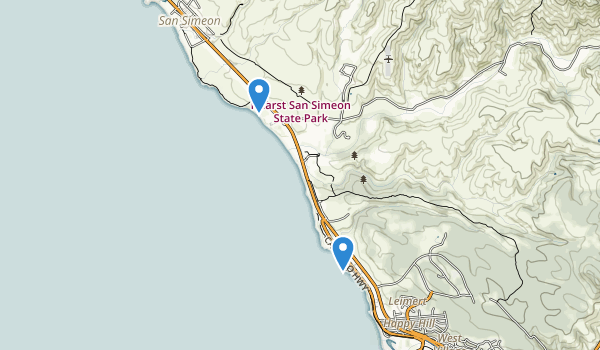 trail locations for Hearst San Simeon State Park