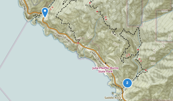 trail locations for Julia Pfeiffer Burns State Park