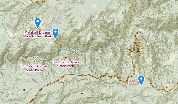 trail locations for Malakoff Diggins State Historic Park