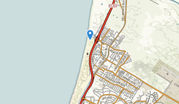 trail locations for Marina State Beach