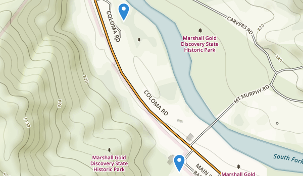 trail locations for Marshall Gold Discovery State Historic Park