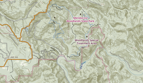 trail locations for Mendocino Woodlands State Park