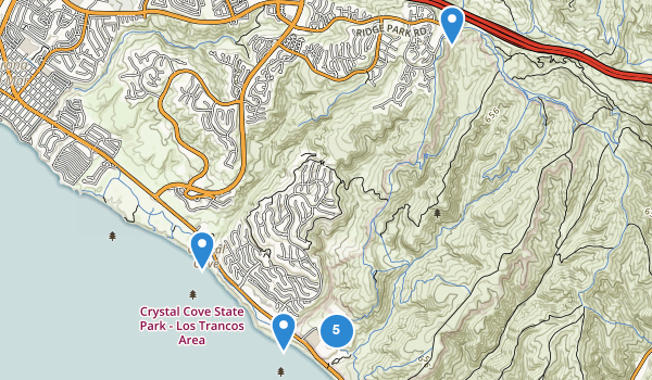 trail locations for Crystal Cove State Park