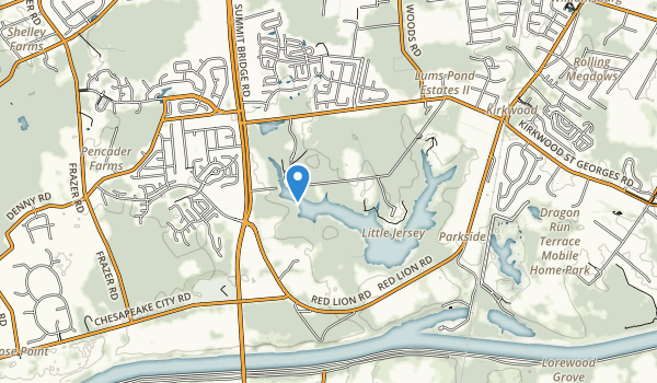 trail locations for Lums Pond State Park