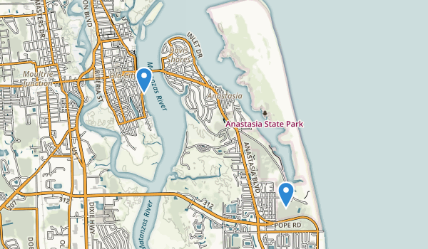 trail locations for Anastasia State Park